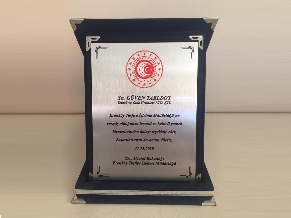 Erenköy Tasfiye İşletme Müdürlüğü tarafından ödül aldık!